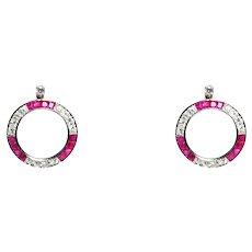 Art Deco Platinum Open Circle Ruby & Diamond Earrings