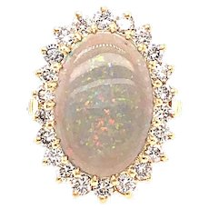 14k Yellow Gold Cluster Style Black Opal Diamond Ring