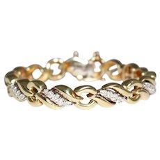 "18k Yellow Gold Diamond ""Figure 8"" Style Link Bracelet"