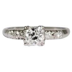 Retro Platinum Square Head Style Diamond Engagement Ring