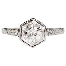 Art Deco Platinum Hexagon Shaped Head Diamond Engagement Ring
