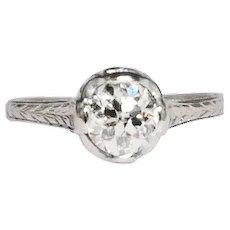 Art Deco Platinum Old European Cut Diamond Engagement Ring