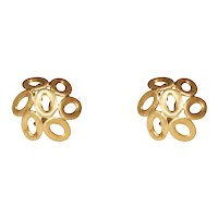 18k Yellow Gold Dome Geometric Clip Earrings