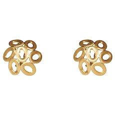 18k Yellow Gold Dome Geometric Clip Earrings