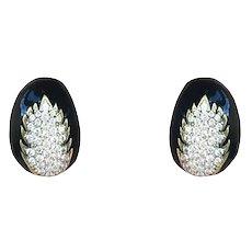 18k Yellow Gold Dome Shaped Enamel And Diamond Earrings