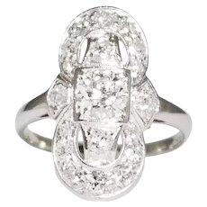 Art Deco Platinum Shield Shaped Diamond Ring