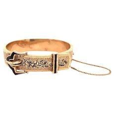 Victorian 14k Yellow Gold Enamel Buckle Motif Bangle Bracelet