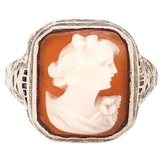14K White Gold, Art Deco Style Cameo Ring