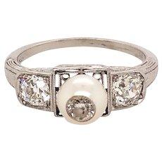 Art Deco Platinum Diamond and Pearl Ring
