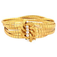 18k Yellow Gold Multi Strand Diamond Bracelet