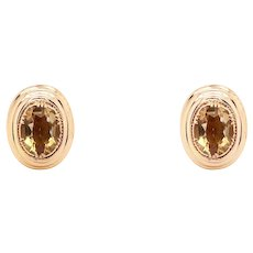 Antique 14k Yellow Gold Citrine Earrings