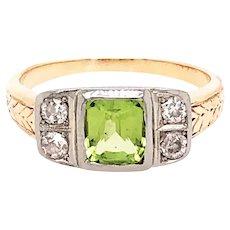Platinum over Gold  Peridot and Diamond Ring
