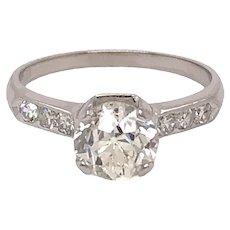 Platinum Art Deco Solitaire Diamond Engagement Ring