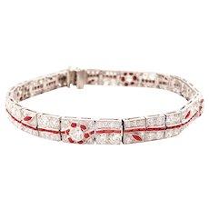 Art Deco Style Platinum Diamond and Coral Bracelet