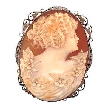Art Deco 14k White Gold Cameo Brooch