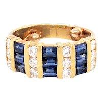 18K Yellow Gold Sapphire and Diamond Band
