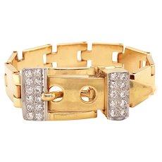 14k Yellow Gold Flexible Diamond Buckle Bracelet
