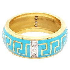 Susy More 18k Yellow Gold Enamel And Diamond Band