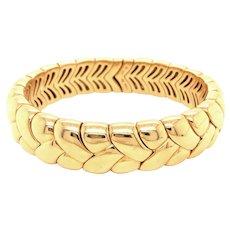 Bulgari 18k Yellow Gold Flexible Braid Motif Bangle Bracelet