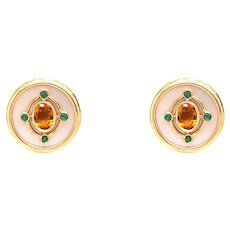 14k Yellow Gold Citrine, Emerald And Mother Of Pearl Earrings