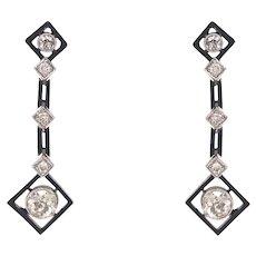 Platinum Art Deco Style Diamond Drop Earrings