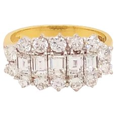 18k Yellow Gold And Platinum Cluster Style Diamond Ring