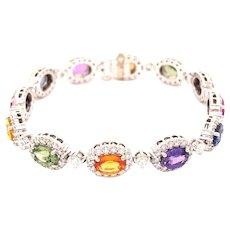 18k White Gold Multi Color Sapphire And Diamond Bracelet