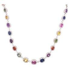 18k White Gold Multi Color Sapphire And Diamond Necklace