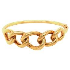 18k Yellow Gold Chain Link Bangle Bracelet