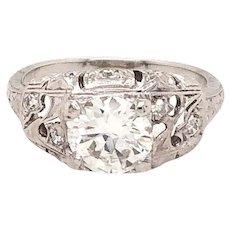 Art Deco Platinum European Cut Diamond Engagement Ring