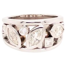 14k White Gold Marquise Cut Diamond Band