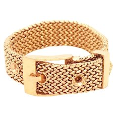 Mid Century 18k Yellow Gold Mesh Style Buckle Ring