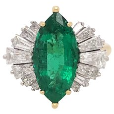 McTeigue 18K Yellow and White Gold Emerald and Diamond Ring