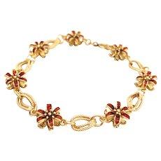 18K Yellow Gold Enamel Floral Bracelet