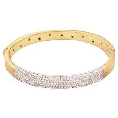 18k Yellow Gold Pave Set Diamond Bangle Bracelet