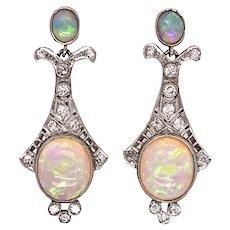 Art Deco Platinum Opal And Diamond Drop Earrings