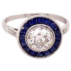 Platinum Art Deco Style Diamond And Sapphire Ring