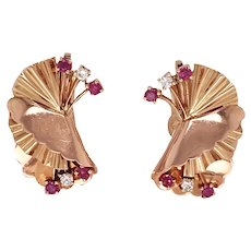 Retro 14k Crimped Rose Gold Ruby And Diamond Earrings