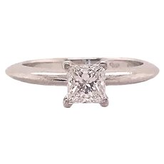 Tiffany & Co. Platinum Solitaire Style Square Cut Diamond Engagement Ring