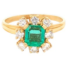 Mid-Century 14k Yellow Gold Emerald & Diamond Cluster Style Ring