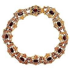 Art Nouveau 14k Yellow Gold Garnet Leaf Motif Bracelet