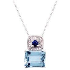 14k White Gold Aquamarine, Sapphire And Diamond Pendant