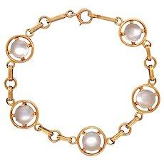 Retro 14k Yellow Gold Moonstone Bracelet