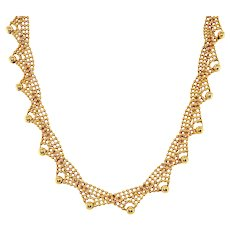 Vintage 14k Yellow Gold Beaded Necklace