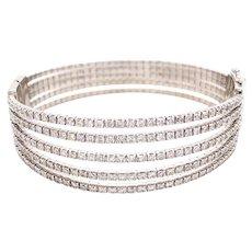 14k White Gold Five Row Diamond Bangle Bracelet