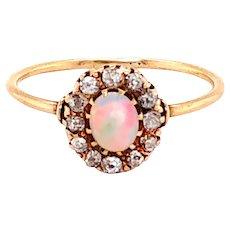 Victorian 14k Yellow Gold Opal Diamond Ring
