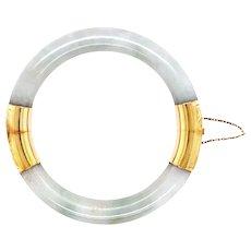 Mid-Century 14k Yellow Gold Jade Bangle Bracelet
