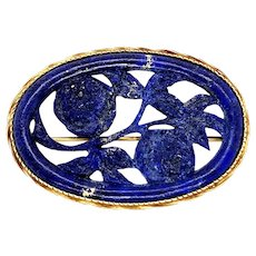 Arts & Crafts 14k Yellow Gold Lapis Lazuli Floral Brooch
