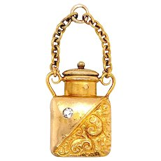 Antique 14k Yellow Gold Old Mine Cut Diamond Perfume Charm
