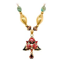 Indian Designed 14k Yellow Gold Enamel, Emerald, Pearl And Diamond Necklace